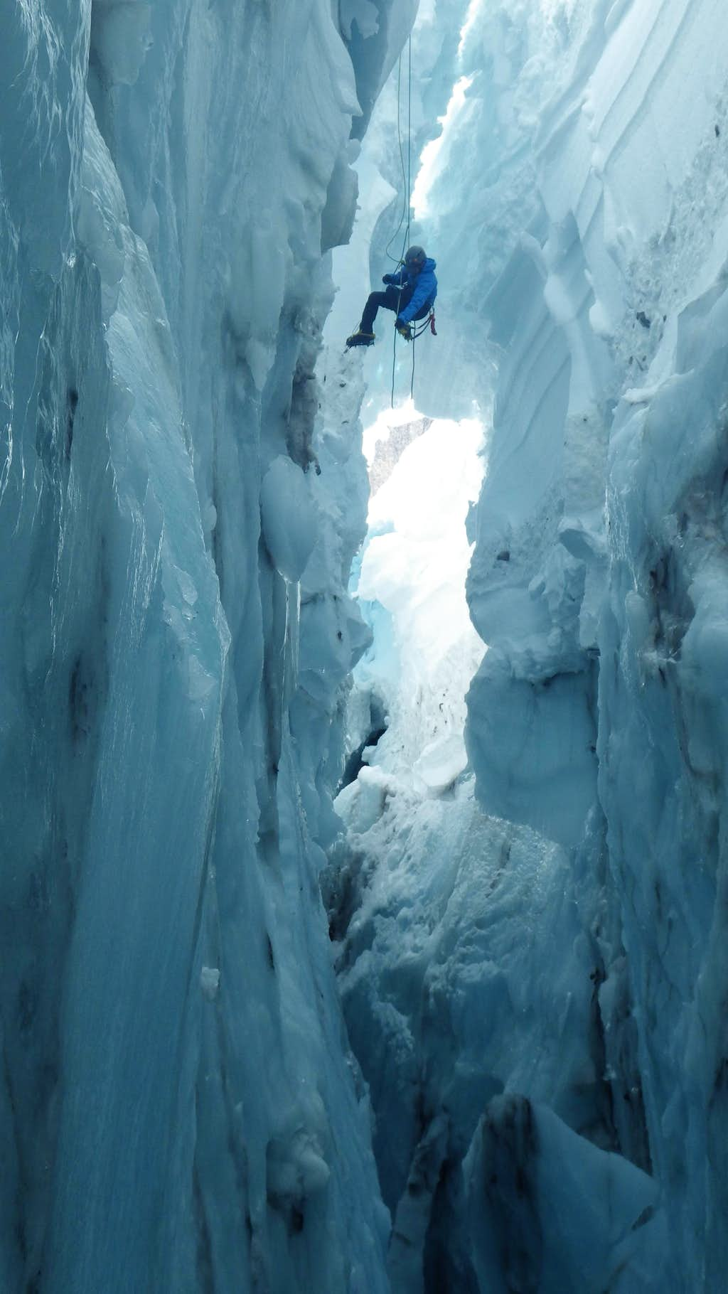 Inside a crevasse on the Nisqually Glacier