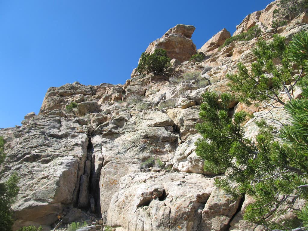 looking back at the crux chimney