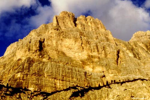 The majestic SW face of Cima Scotoni in the afternoon light