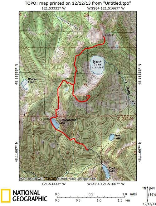 Independence Peak/Bluegrass Butte route map