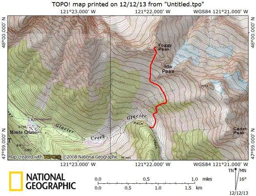 Foggy Peak route map