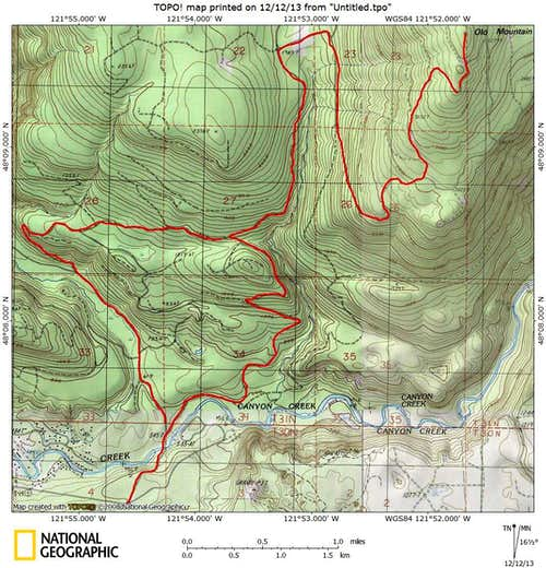 Olo Mountain route map