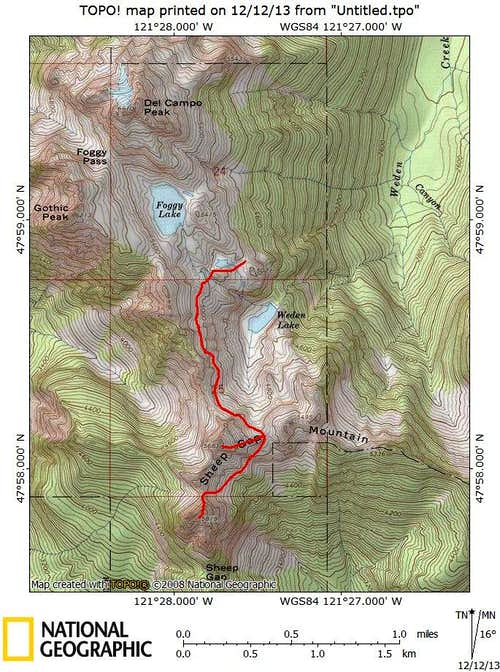 Sheep Gap Mountain route map