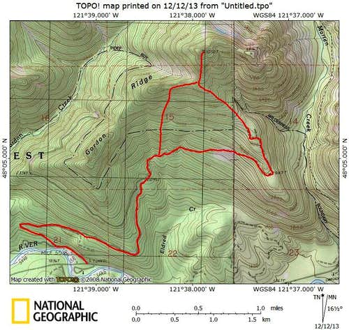 Anaconda Peak route map