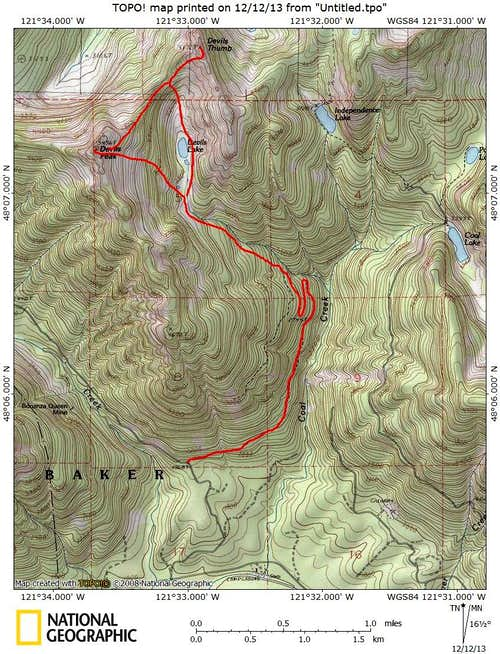 Devils Peak route map
