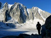 Les Droites and Aiguille Verte from the approach to Aiguille du Refuge