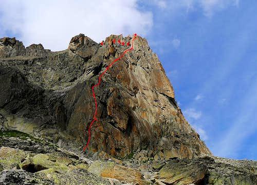 Le Gateau de Riz topo, Aiguille du Refuge