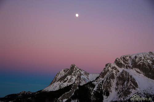 Giewont peak at dusk