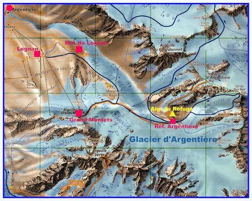 Aiguille du Refuge map