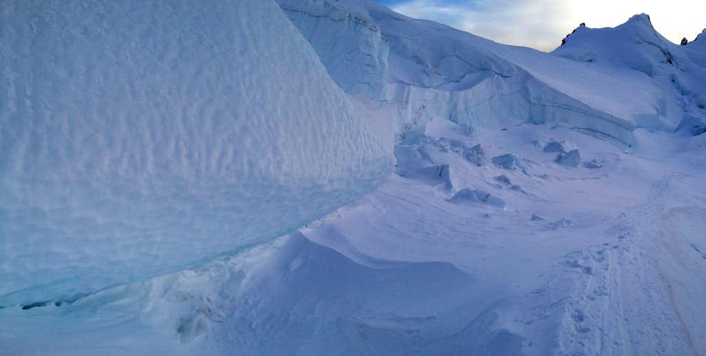 above the crevasses on Mt. Baker glacier