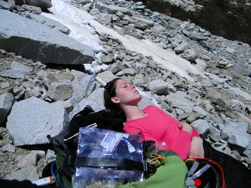 Napping on Snowmass below summit