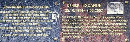 Denise's plaque beside Vincendon & Henry's