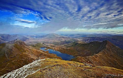 Looking East from the summit of Snowdon