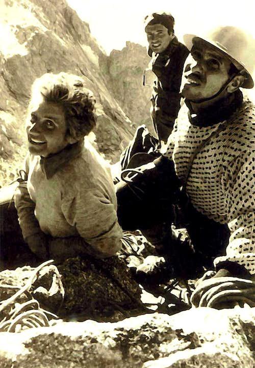 Denise, Habib, Eric below the Red chimneys - Walker spur