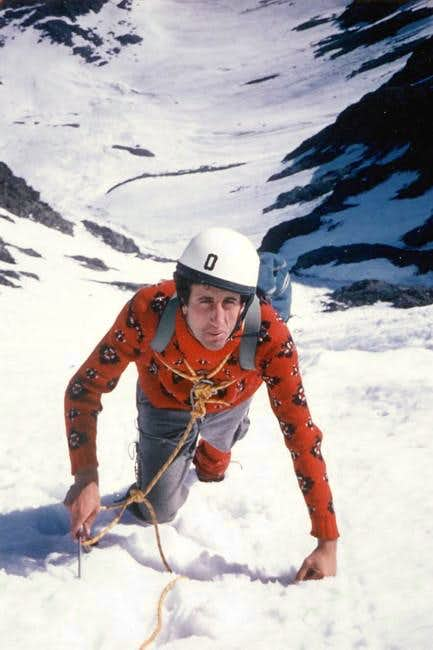 Osvaldo Cardellina on the Northern Wall of Monte Paramont <i>(3301m)</i>