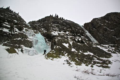Climber approaching Second Gully