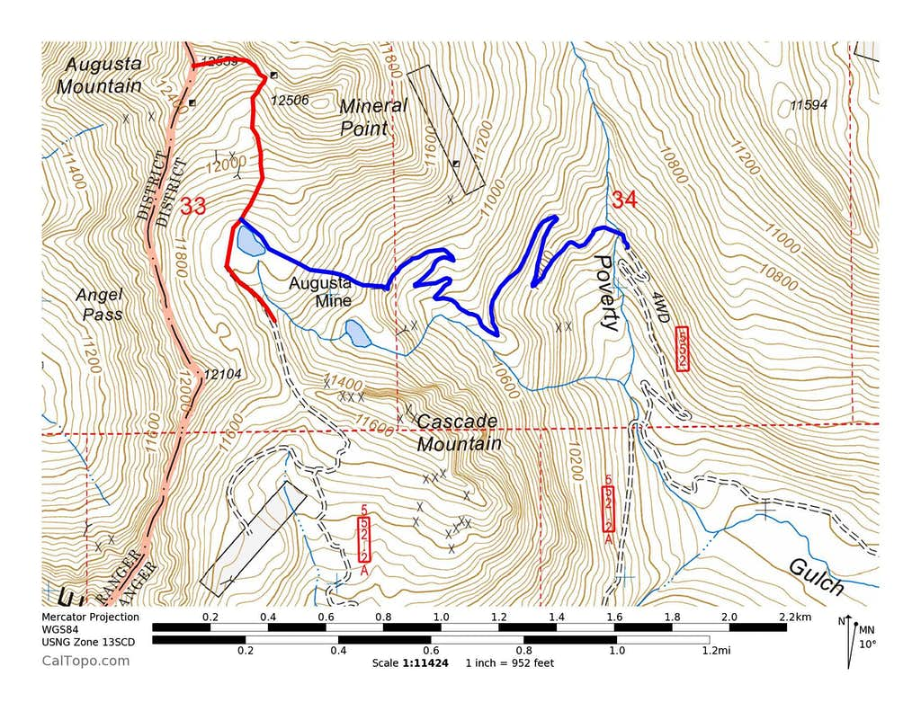 Augusta Mountain Approach Routes