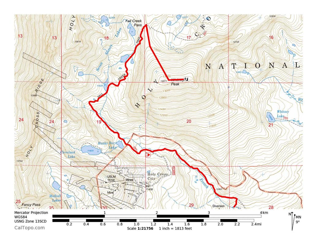 Whitney Peak's NW Ridge Route