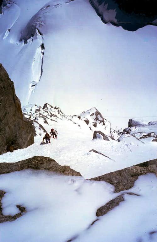 Grande Rousse Traverse Climbing after snowfall 1980
