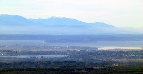 Olympics, Puget Sound, Hat Island, and Lake Stevens from Explorer Hill