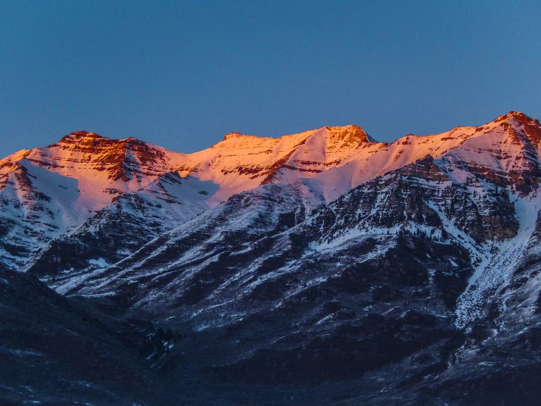 Sunset on the west face of Timp in early January