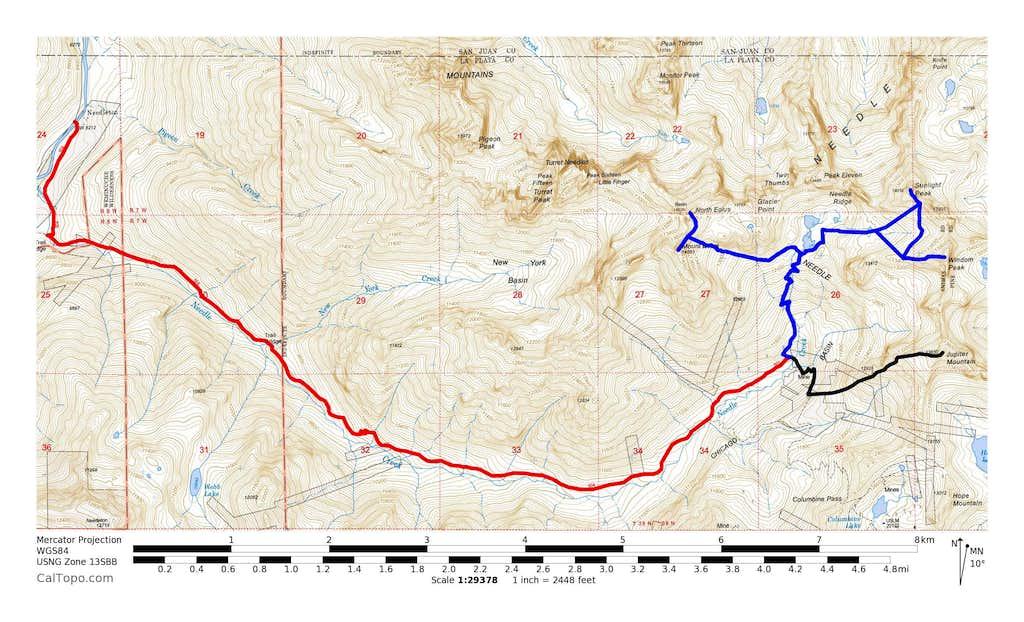 Mount Eolus, North Eolus, Windom Peak, Sunlight Peak & Jupiter Mountain