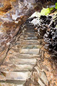 Looking up Arch Rock steps