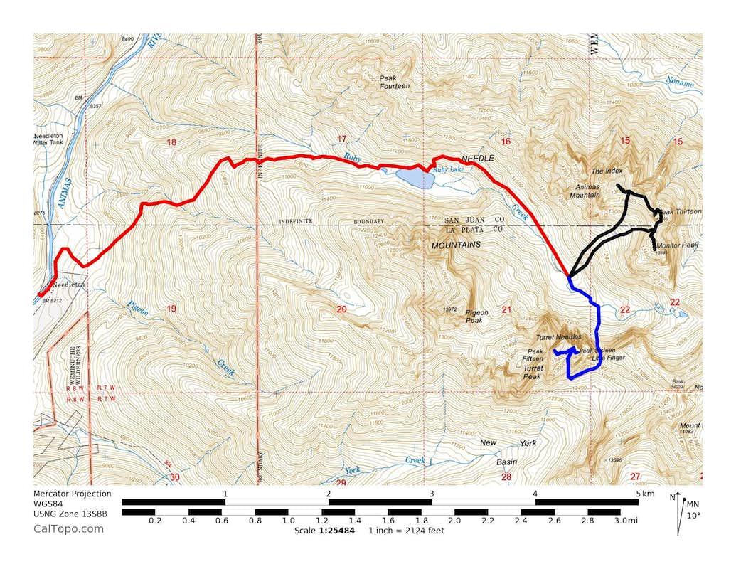 Monitor Peak, Peak Thirteen, Animas Mountain & Peaks Fofteen & Sixteen