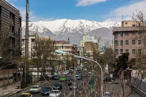 Alborz Mountains above Tehran City