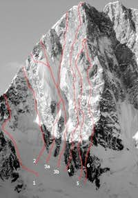 Grandes Jorasses - Routes on the NE