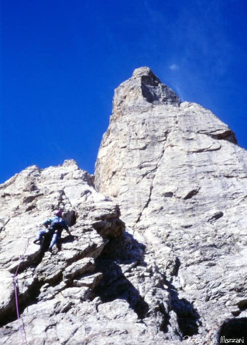 Climbing the last section of first needle, Tenailles de Mombrison