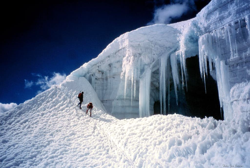 An ice-cave on the way to Nevado Ishinca