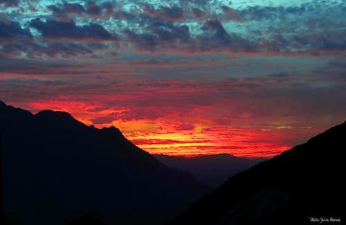Ameln Valley, burning sunset from Tizi n'Tarakatine Col