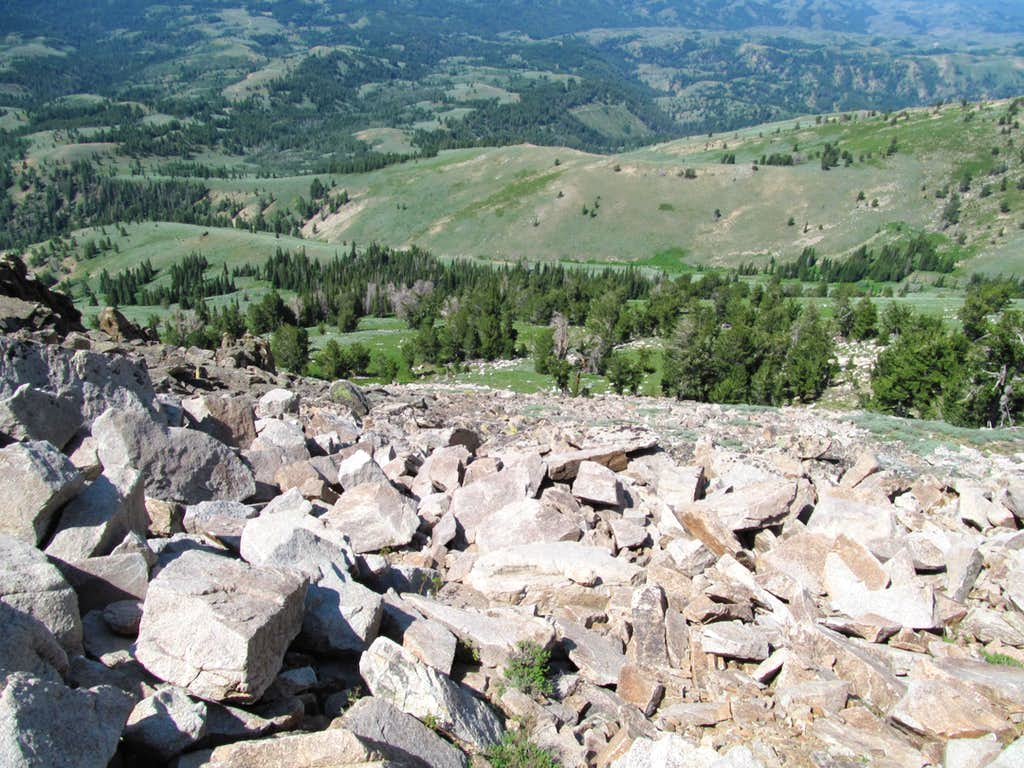 looking down the upper rockier slopes