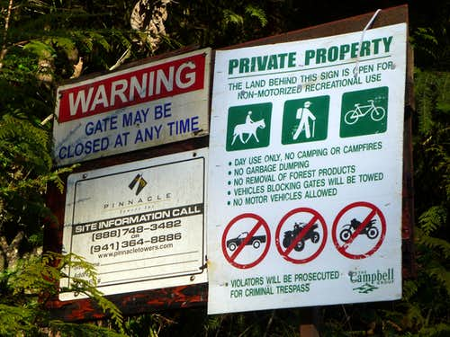 Posted signs on the way to Littler Pilchuck