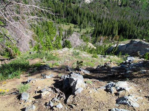 ascending Redbird's NE slopes