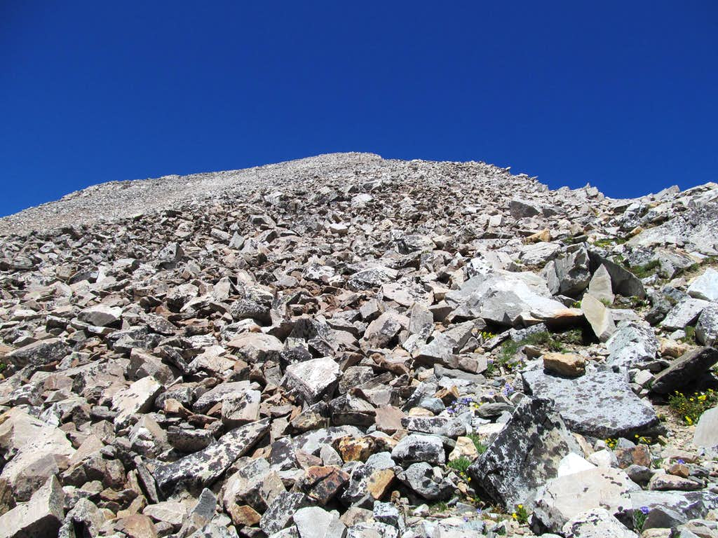 talus near the summit