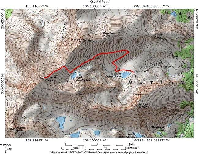 TOPO! Map with Trail in Red : Photos, Diagrams & Topos : SummitPost