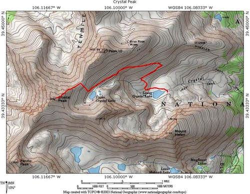 TOPO! Map with Trail in Red