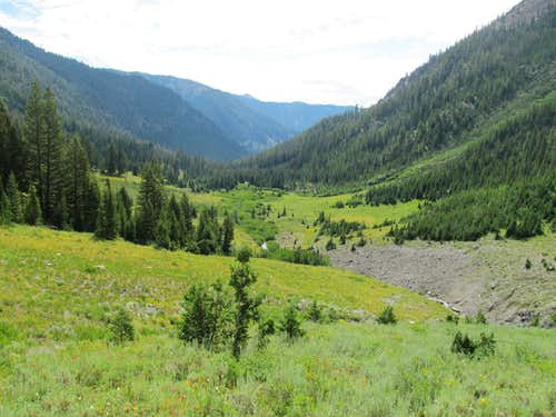 looking back along the W Fork Wood River drainage