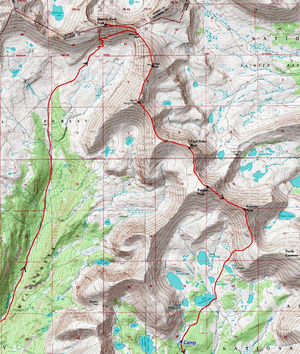 Kings-Emmons Ridge Map