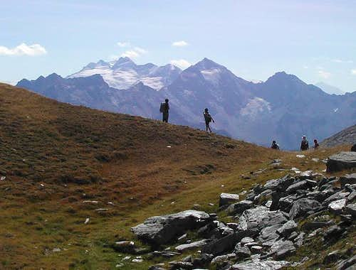 View from Passo di Dzioule of Monte Paramont and Rutor group
