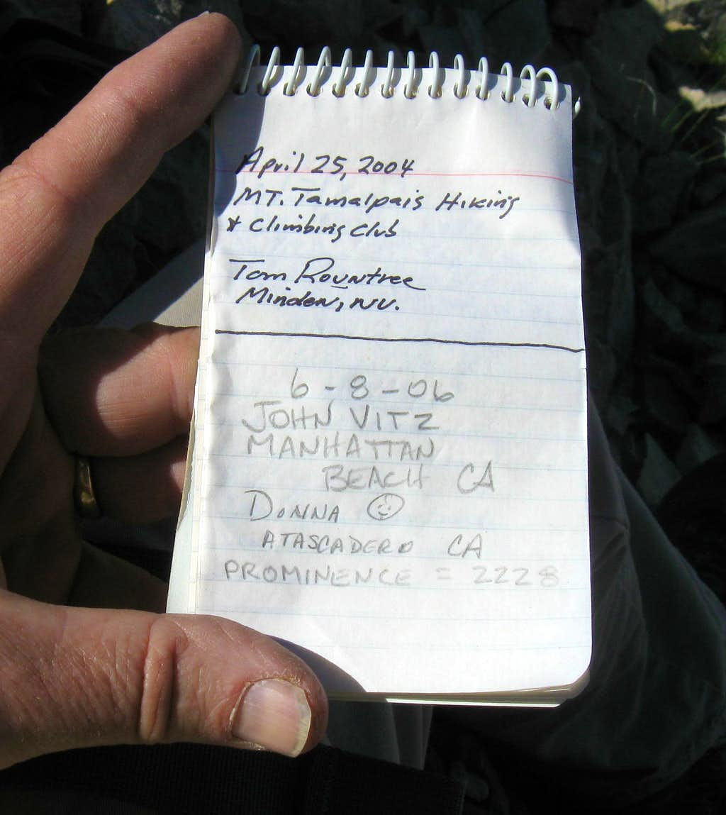 Butte Mountain register page