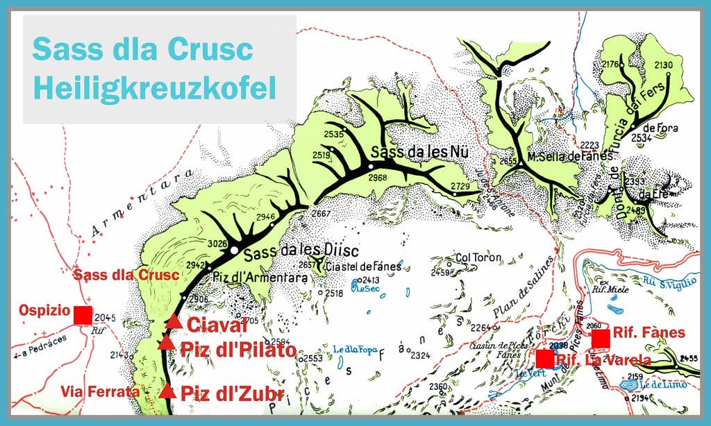 Sass dla Crusc - Heiligkreuzkofel map