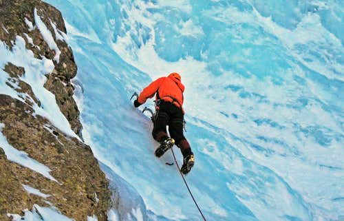 Ice climbing on Skakavitza, Rila mountain