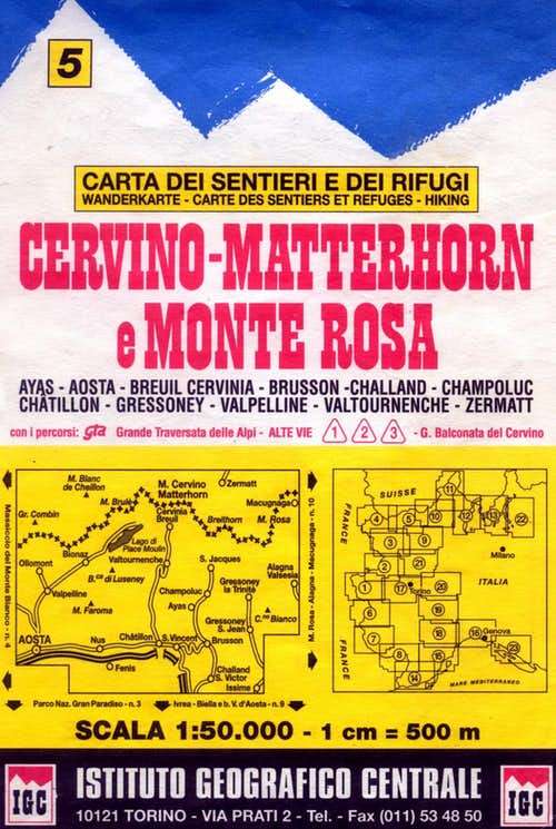 Cervino-Matterhorn and Monte Rosa map