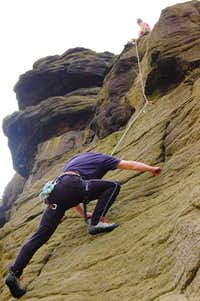 Climb: 'Grooved Wall' HS 4b, Ravenstones, Derbyshire, UK