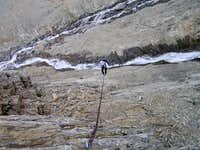 Rappel on headwall