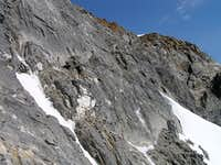 Upper section of SW face, just below summit