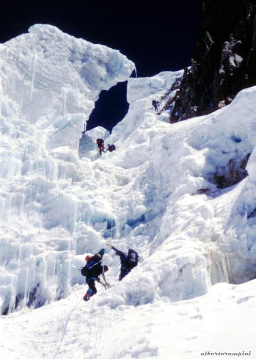 Climbing the ice-fall towards the high camp
